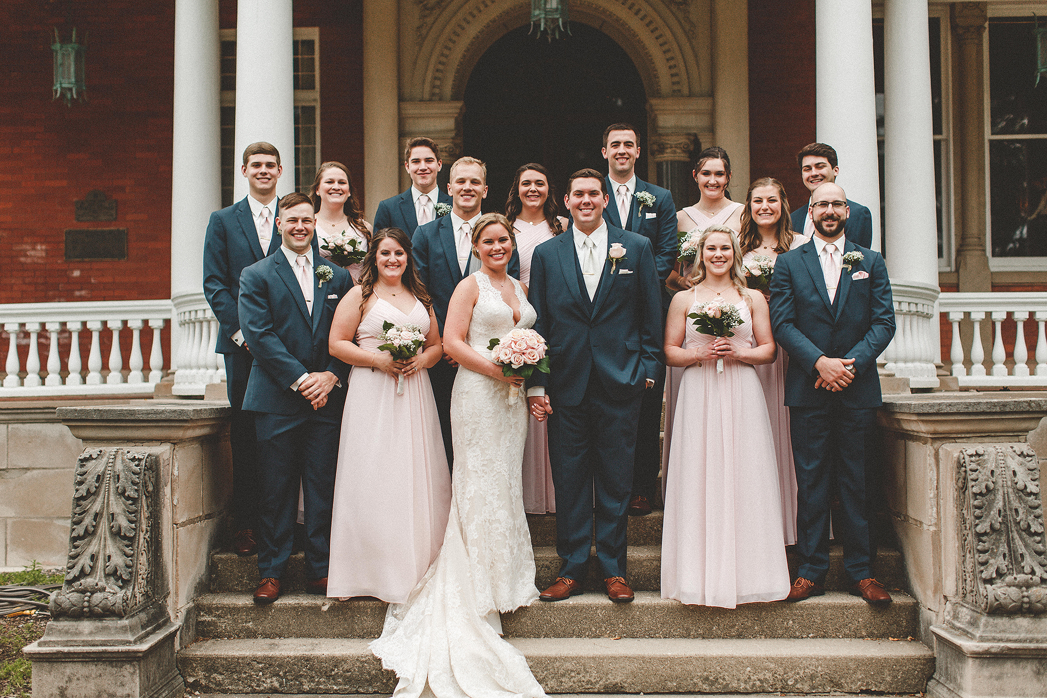 wedding party pictures on steps of ellwood house | dekalb, il wedding photographer | chrissy deming