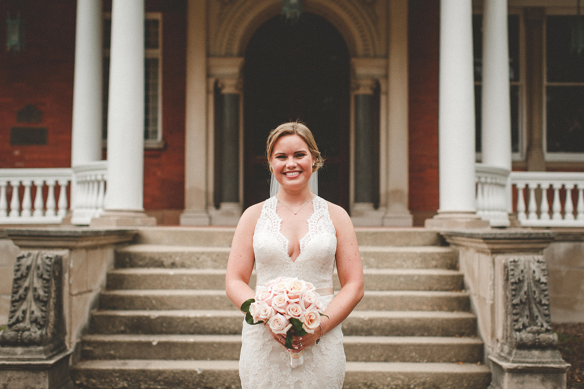 portrait of bride holding flowers at ellwood house | dekalb, il wedding photographer | chrissy deming