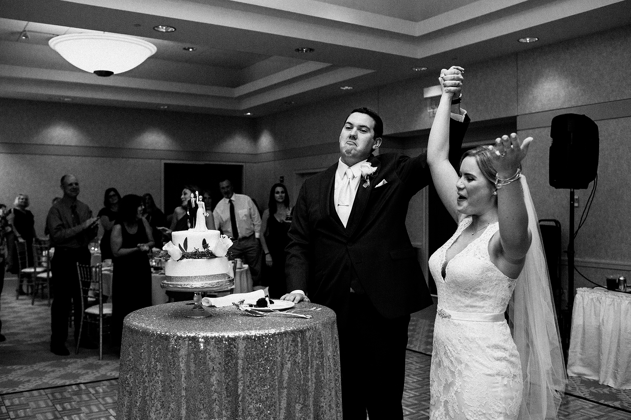 bride and groom cake cutting | dekalb, il wedding photographer