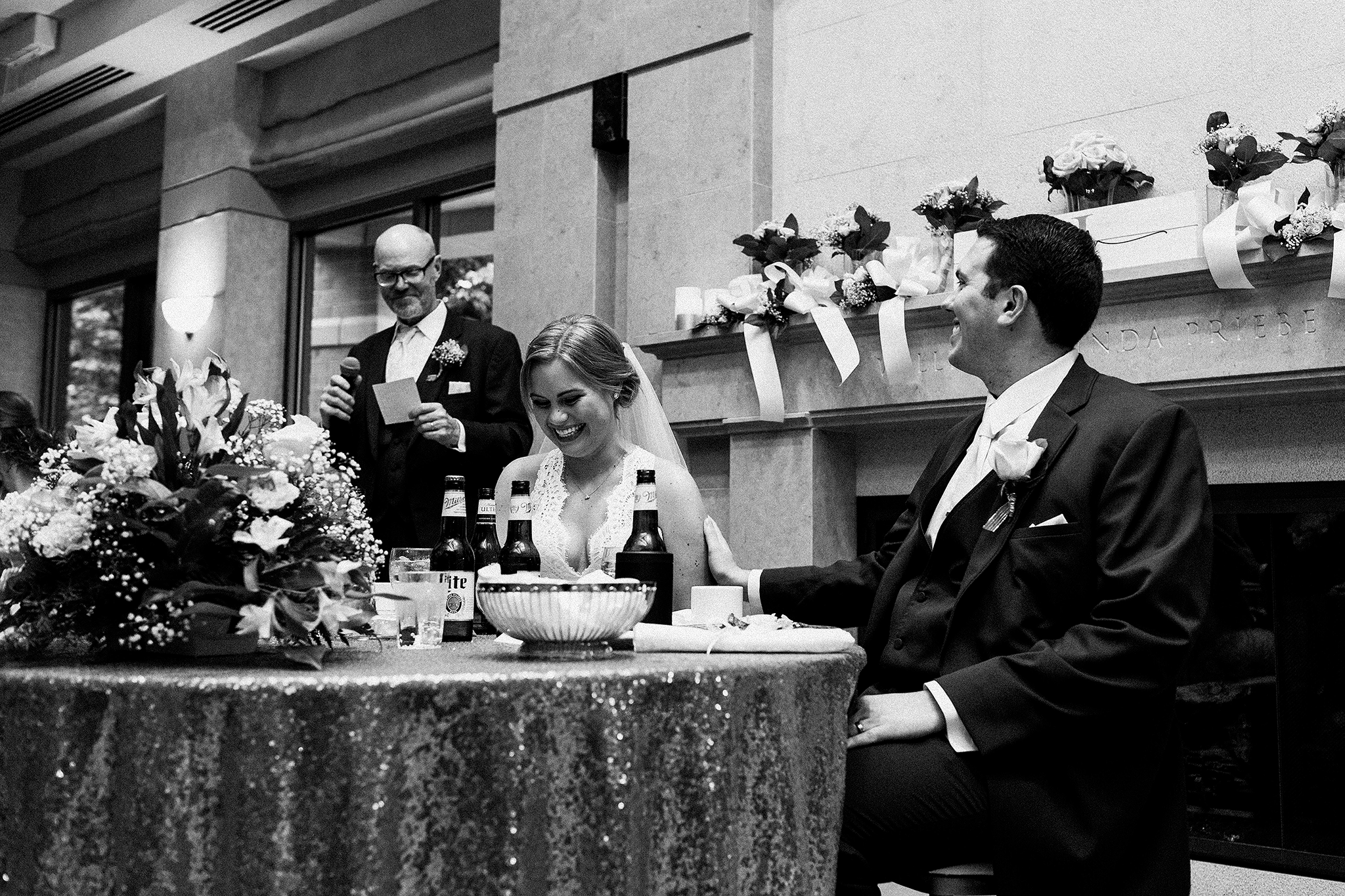 father of the bride speech, bride and groom laughing | dekalb, il wedding photographer