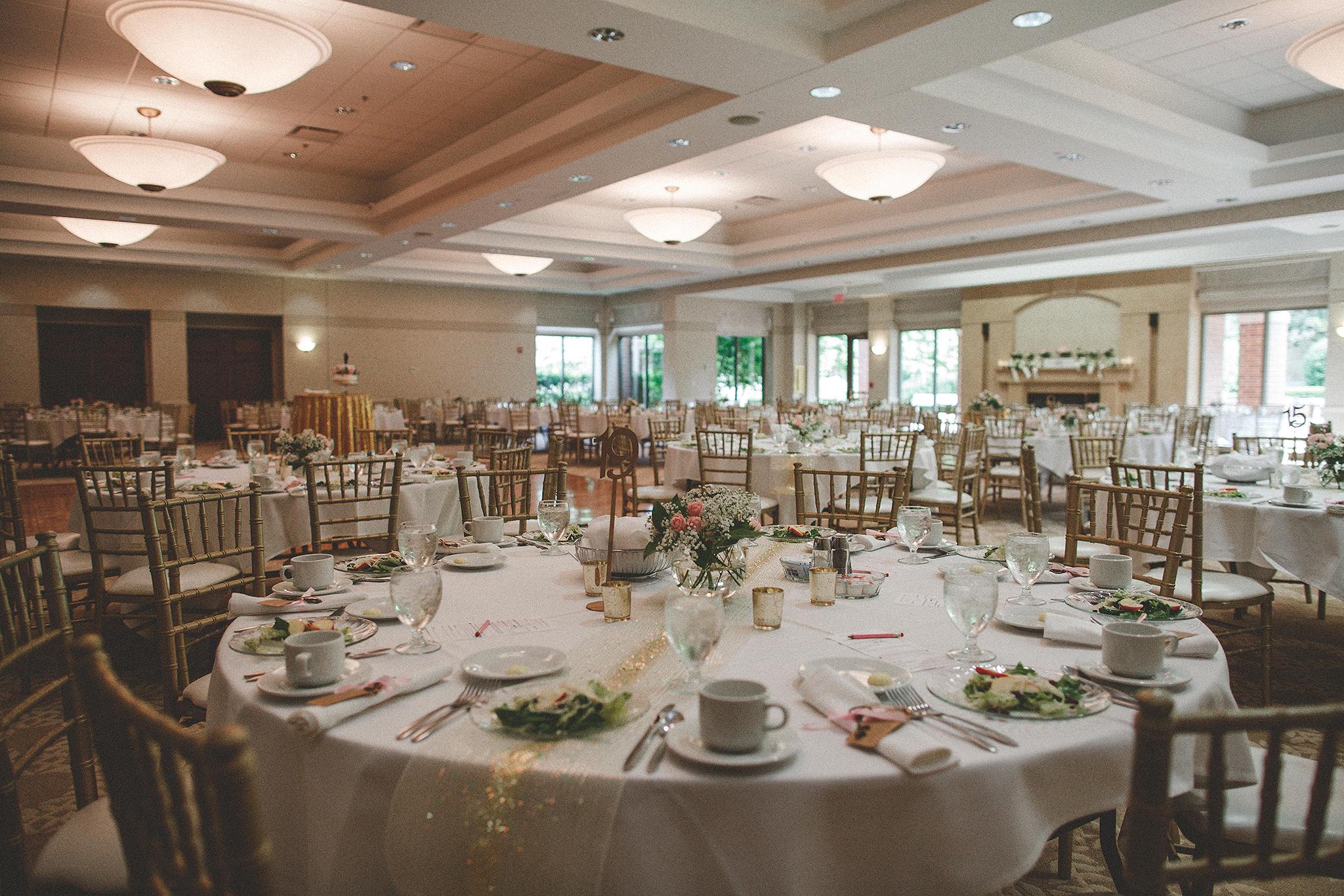 reception hall decor at barsema alumni center | dekalb, il wedding photographer
