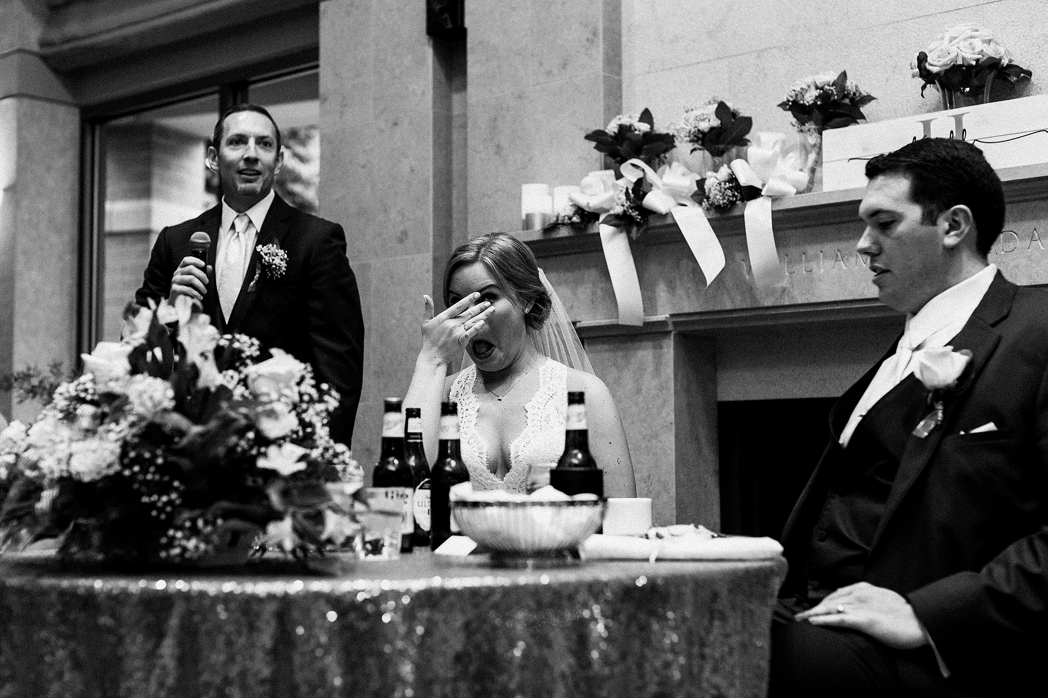 father of the groom speech, bride wiping tears | dekalb, il wedding photographer
