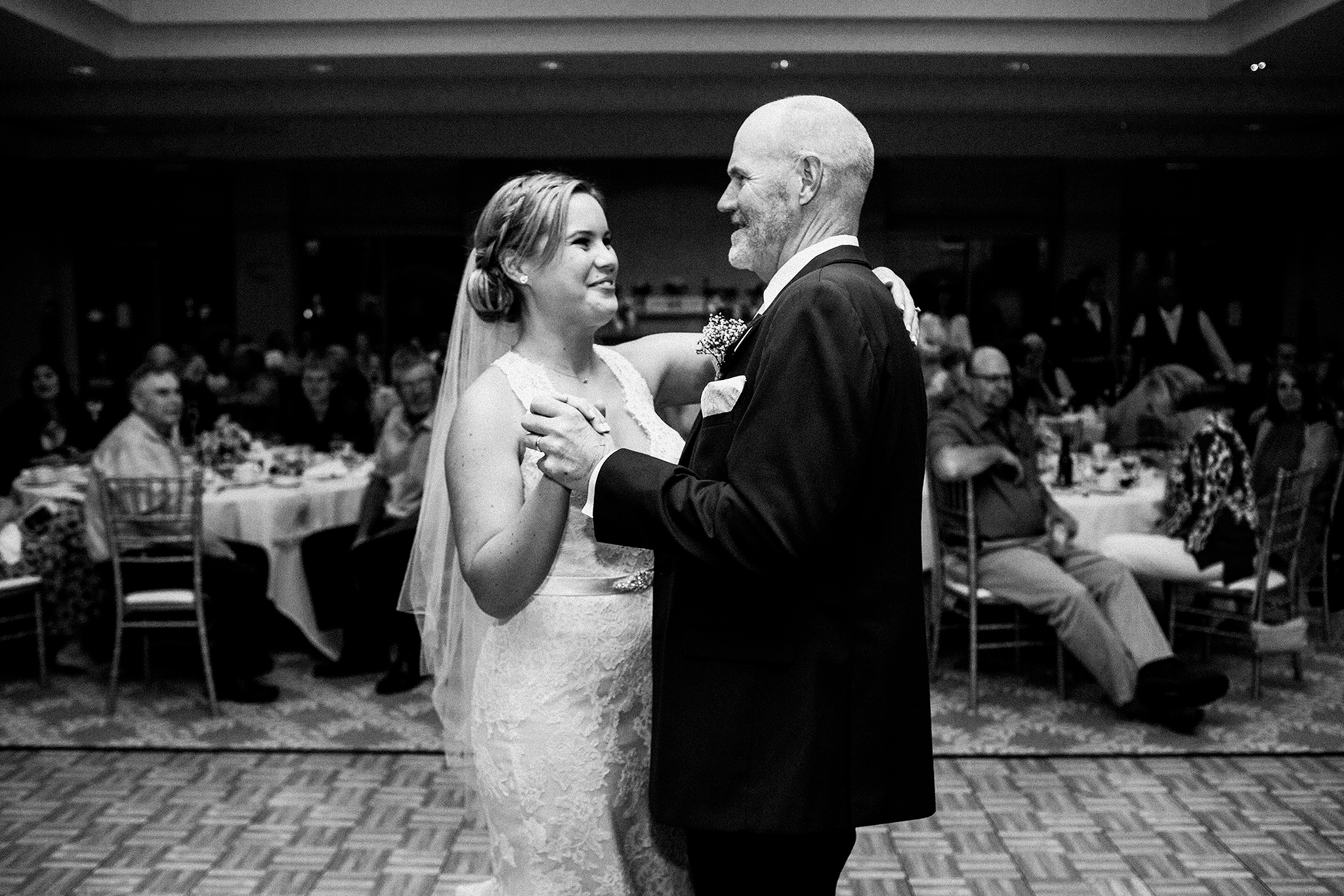 bride and father of bride dancing, father daughter dance | barsema alumni center dekalb IL wedding photographer