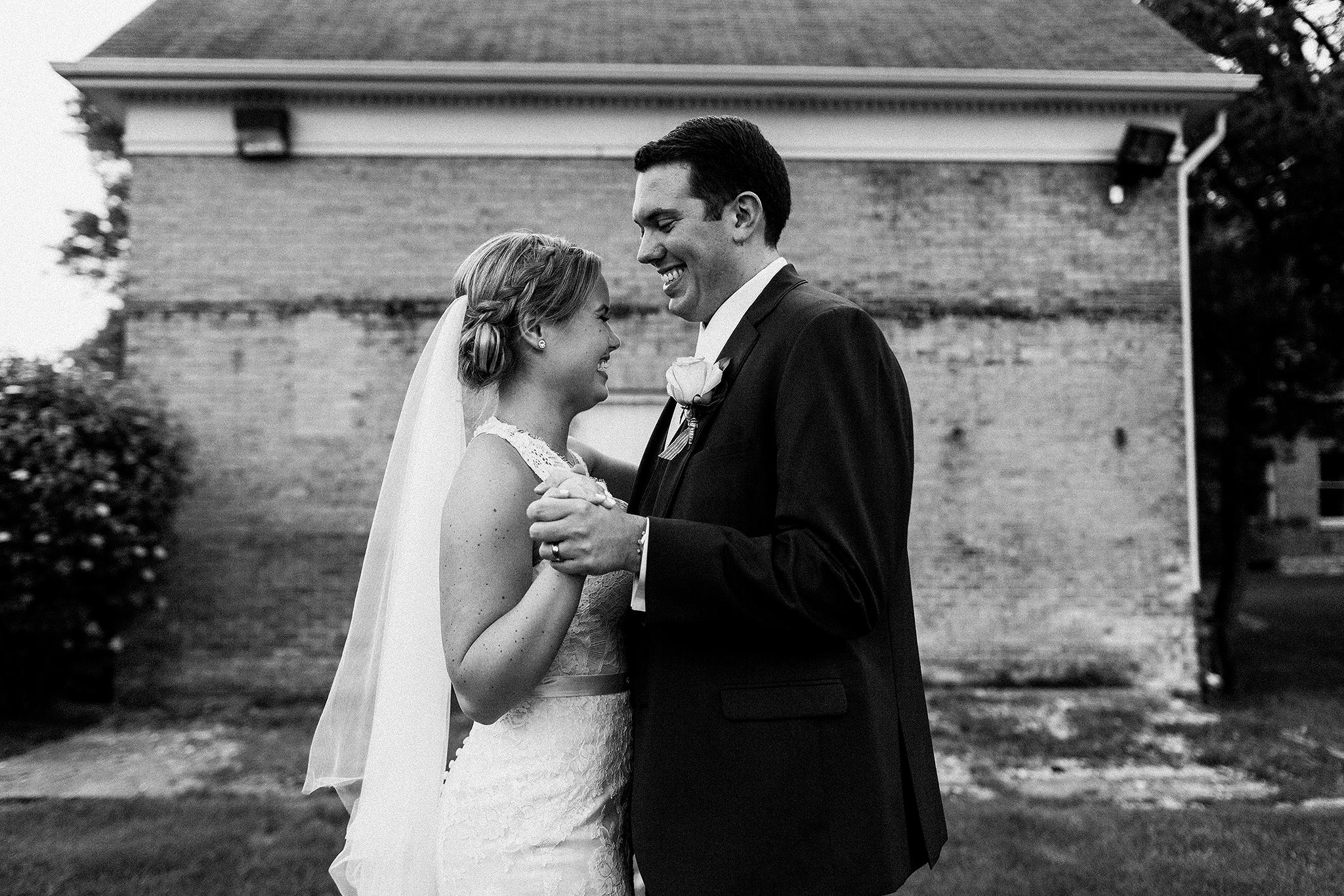 bride and groom slow dancing outside | dekalb, il wedding photographer