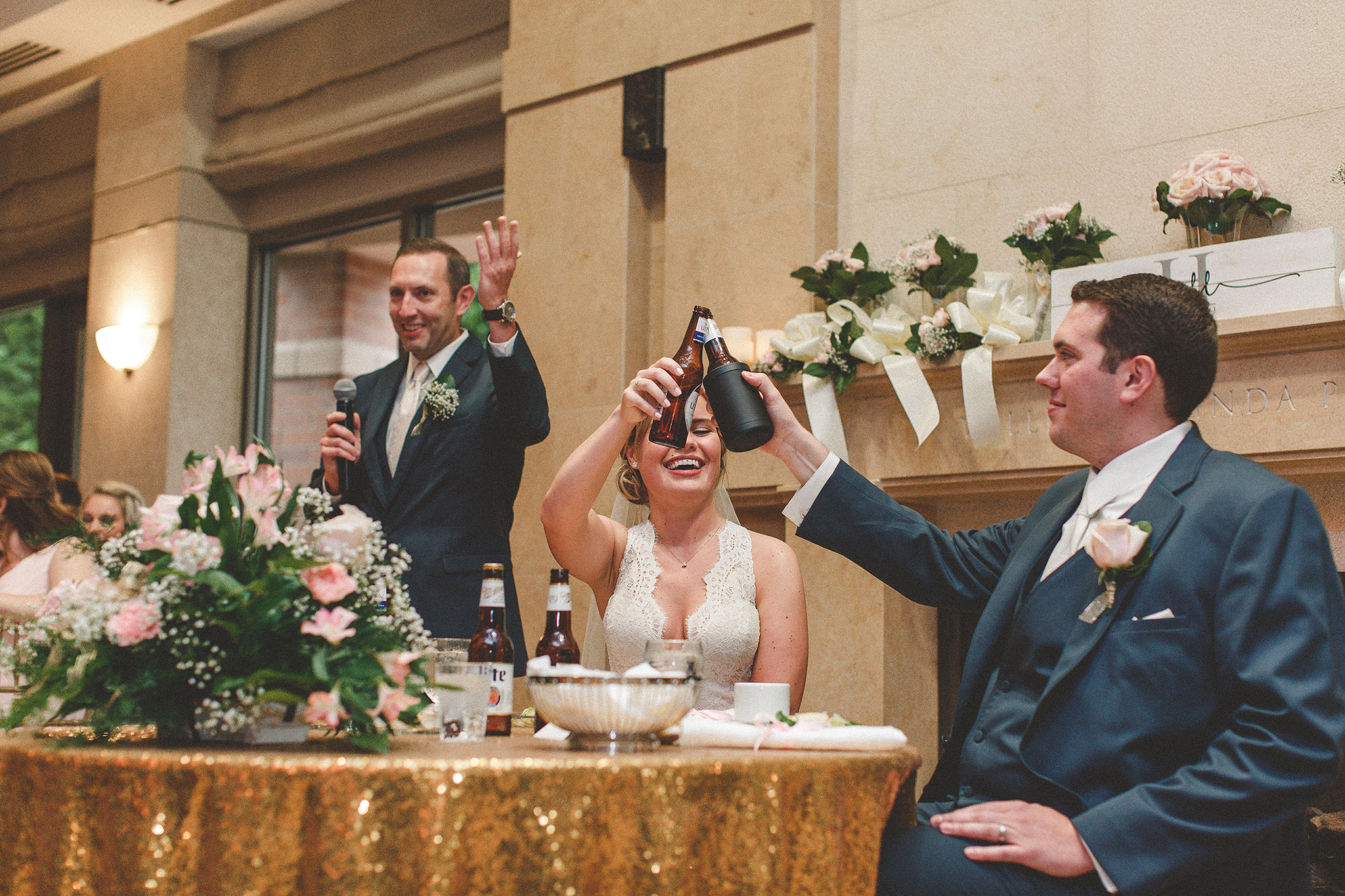 father of the bride speech, bride and groom toasting | dekalb, il wedding photographer