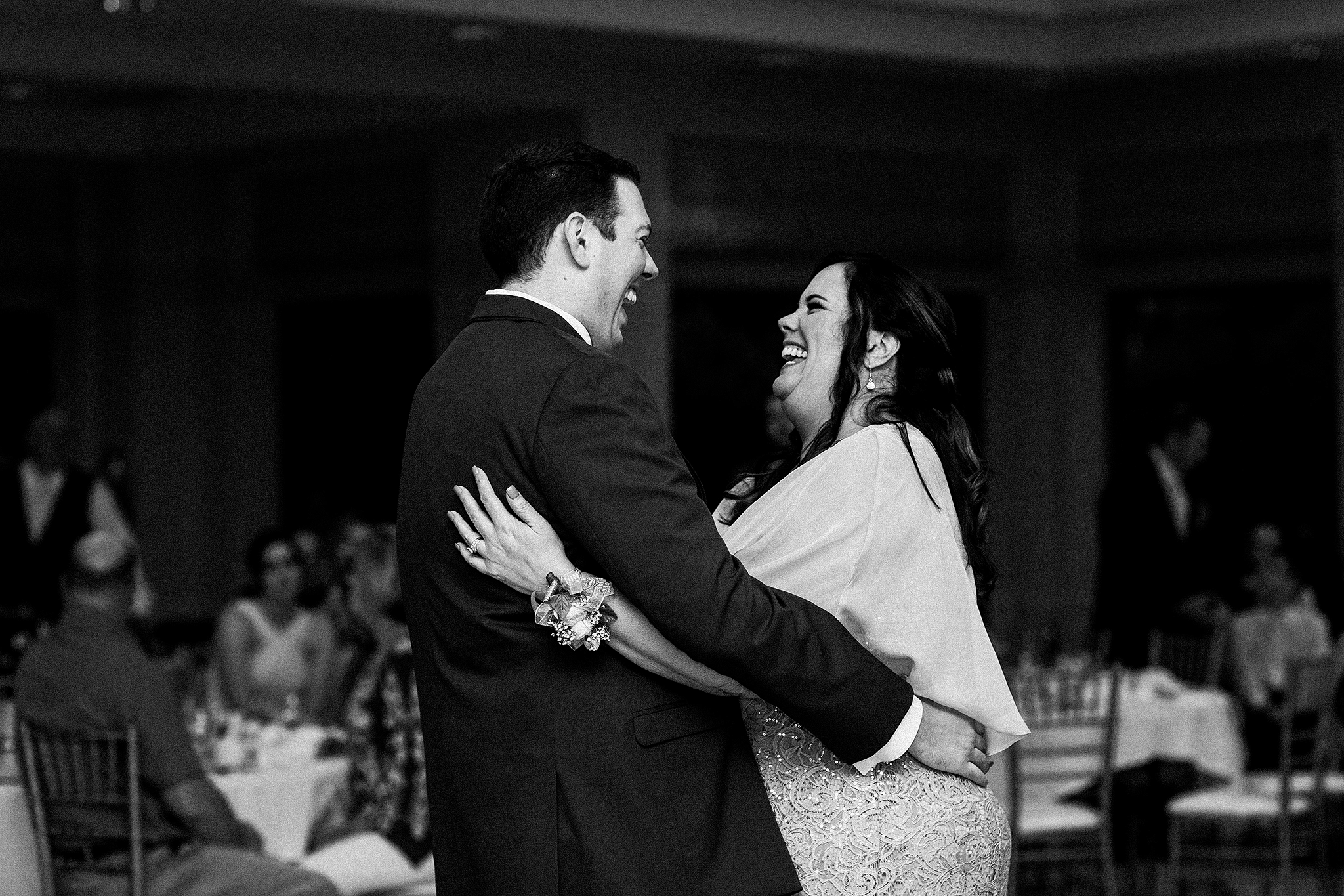 groom and mother dancing, laughing | barsema alumni center dekalb IL wedding photographer