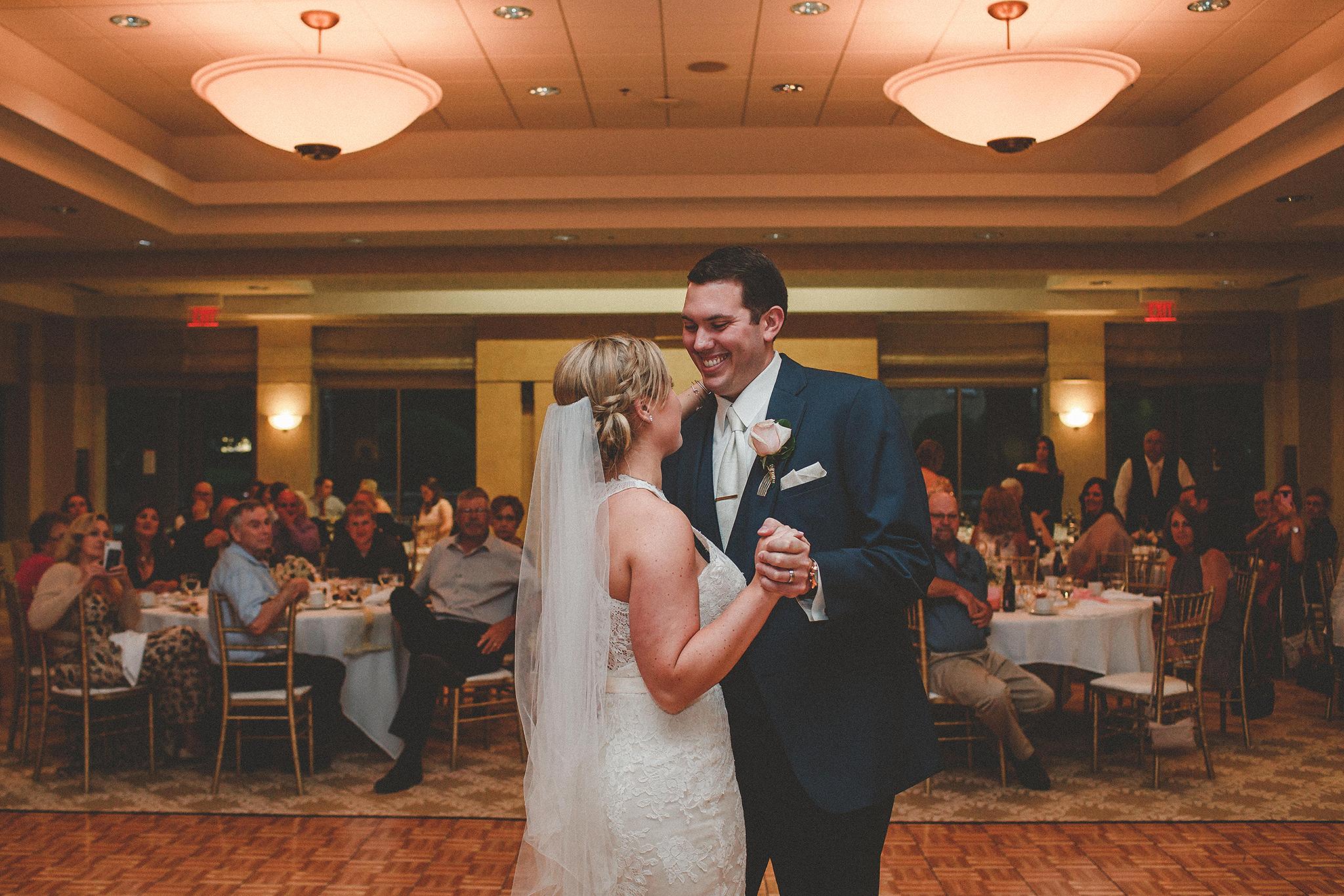 bride and groom first dance | barsema alumni center dekalb, IL wedding photographer