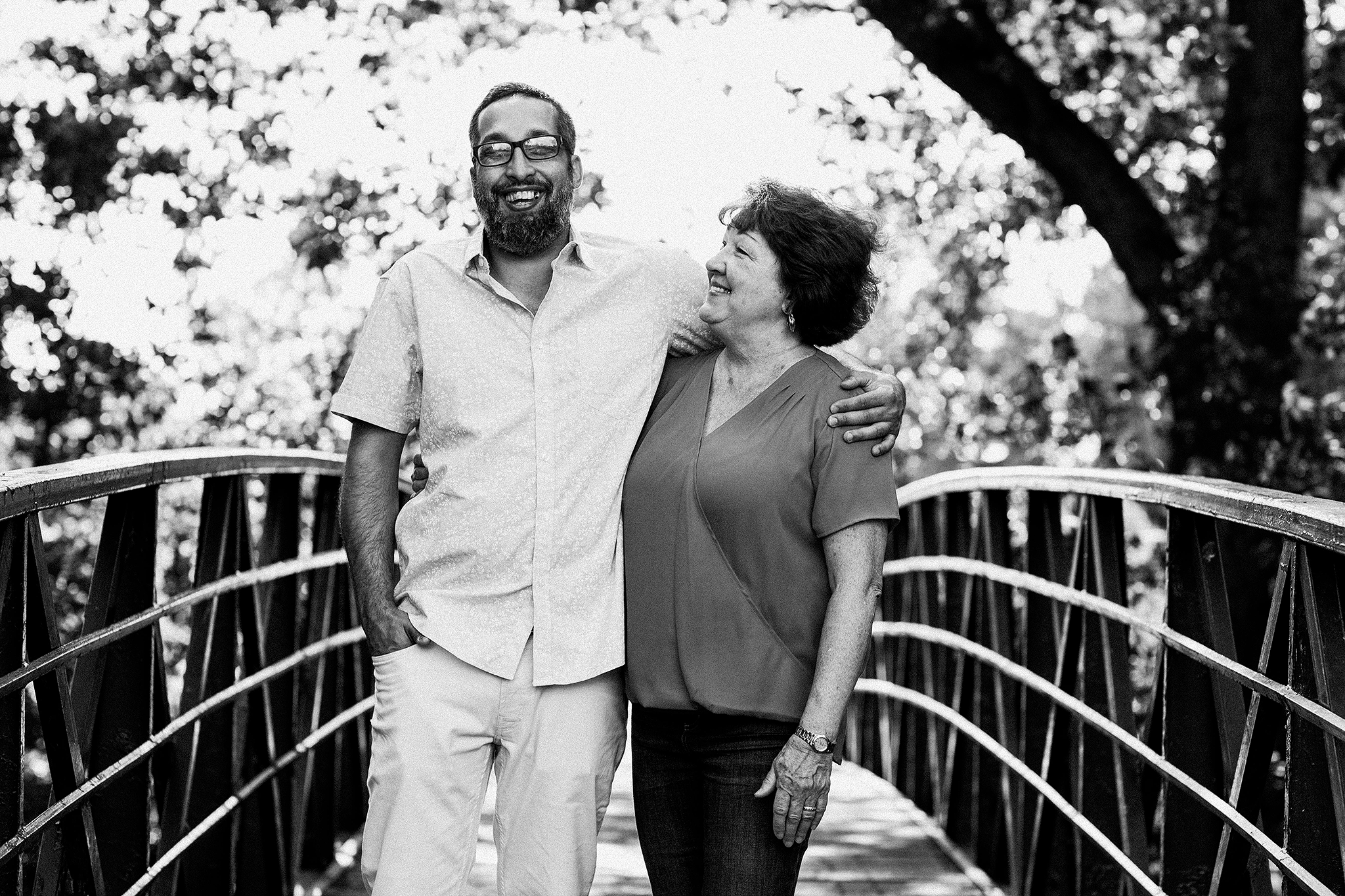 portrait of mother and adult son on bridge | sycamore il family photographer