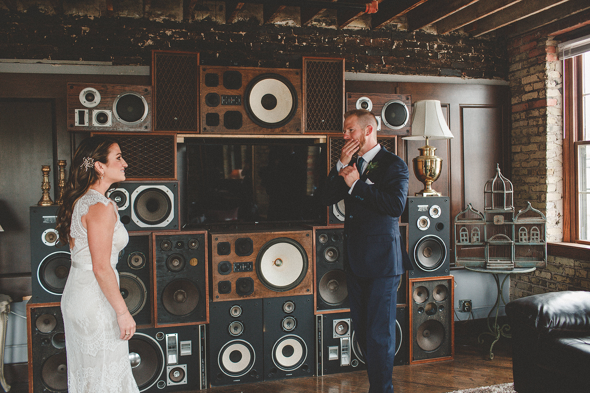 bride and groom first look | the ivy house milwaukee wedding photographer | chrissy deming photography