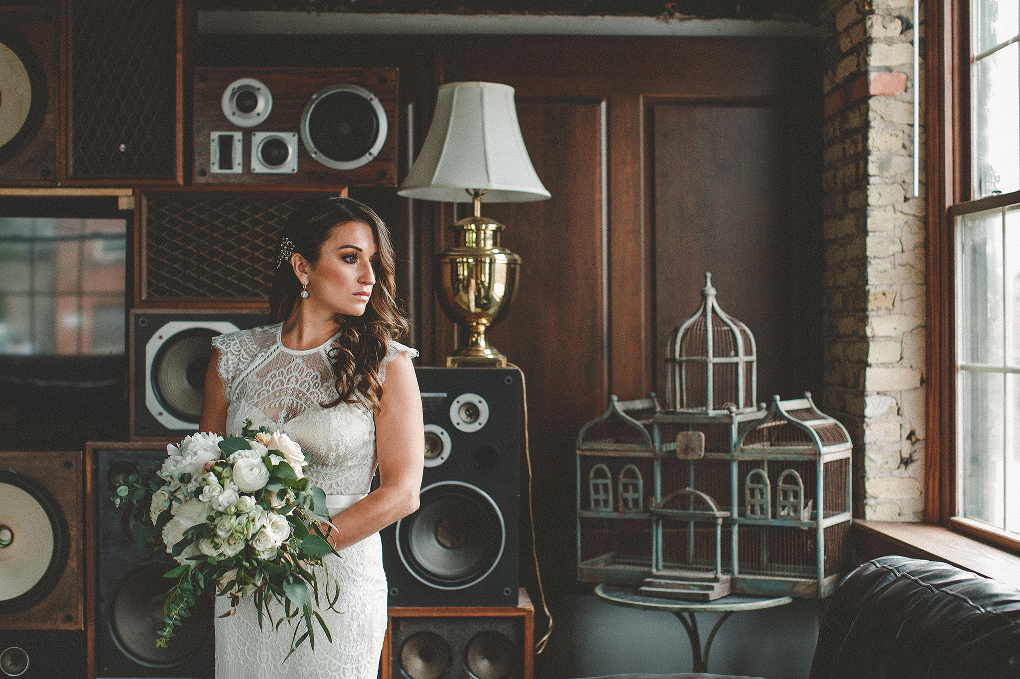 bridal portrait in front of vintage speakers | the ivy house milwaukee wedding photographer | chrissy deming photography
