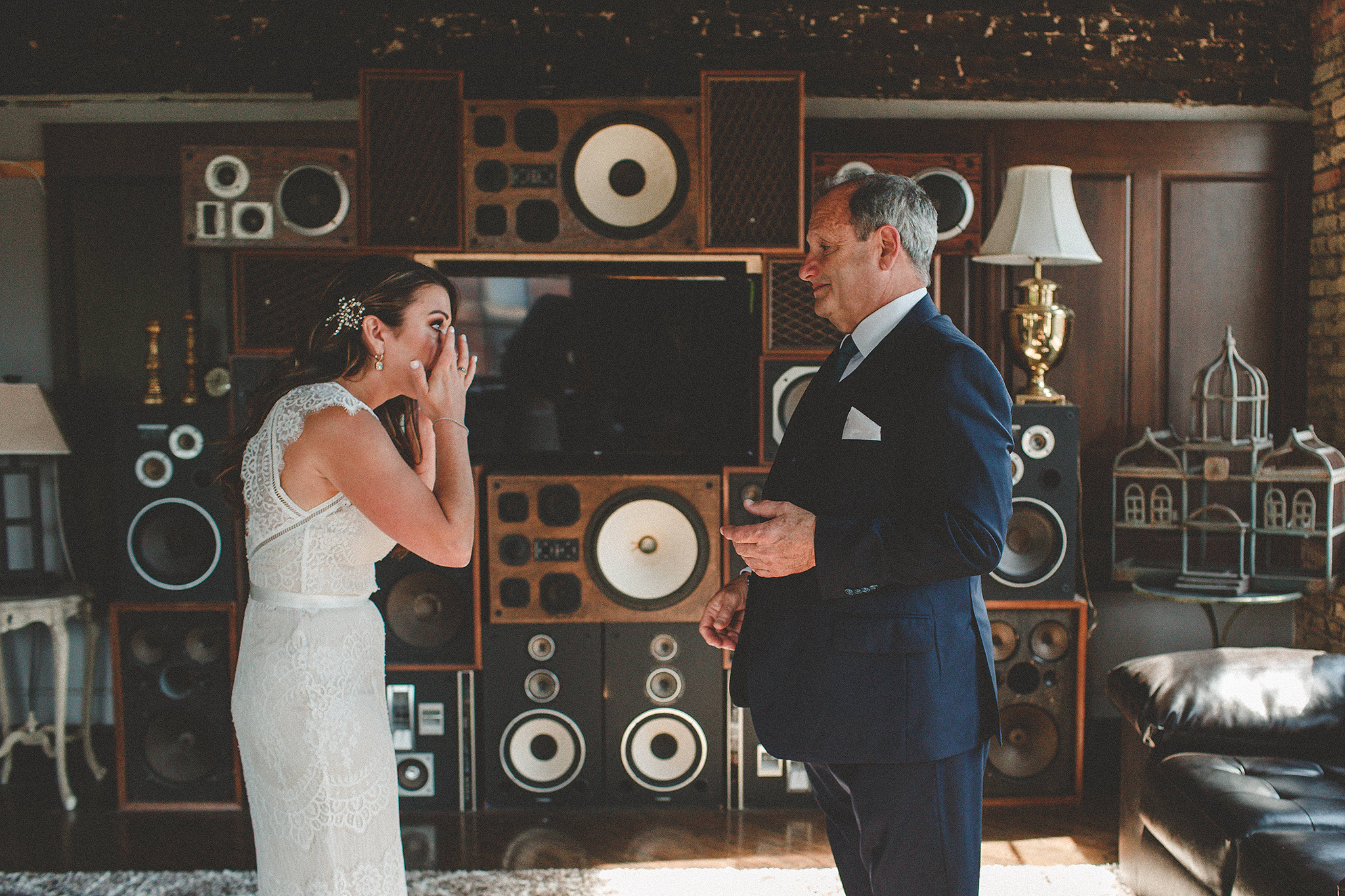 emotional first look with father of the bride | the ivy house milwaukee wedding photographer | chrissy deming