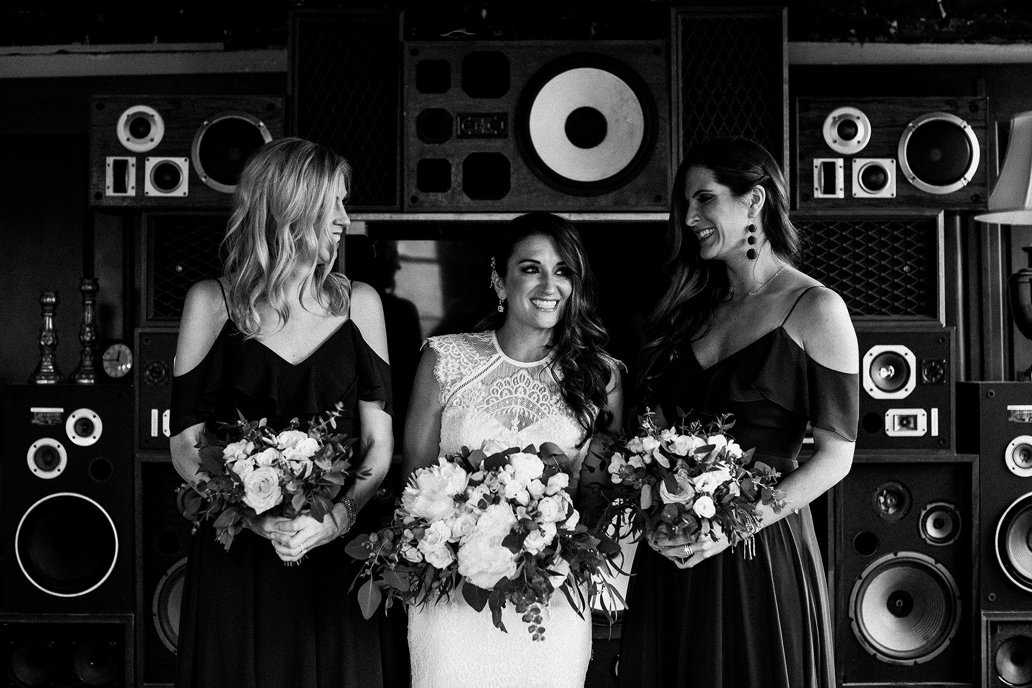 bride/bridesmaids portrait in front of vintage speakers | the ivy house milwaukee wedding photographer | chrissy deming