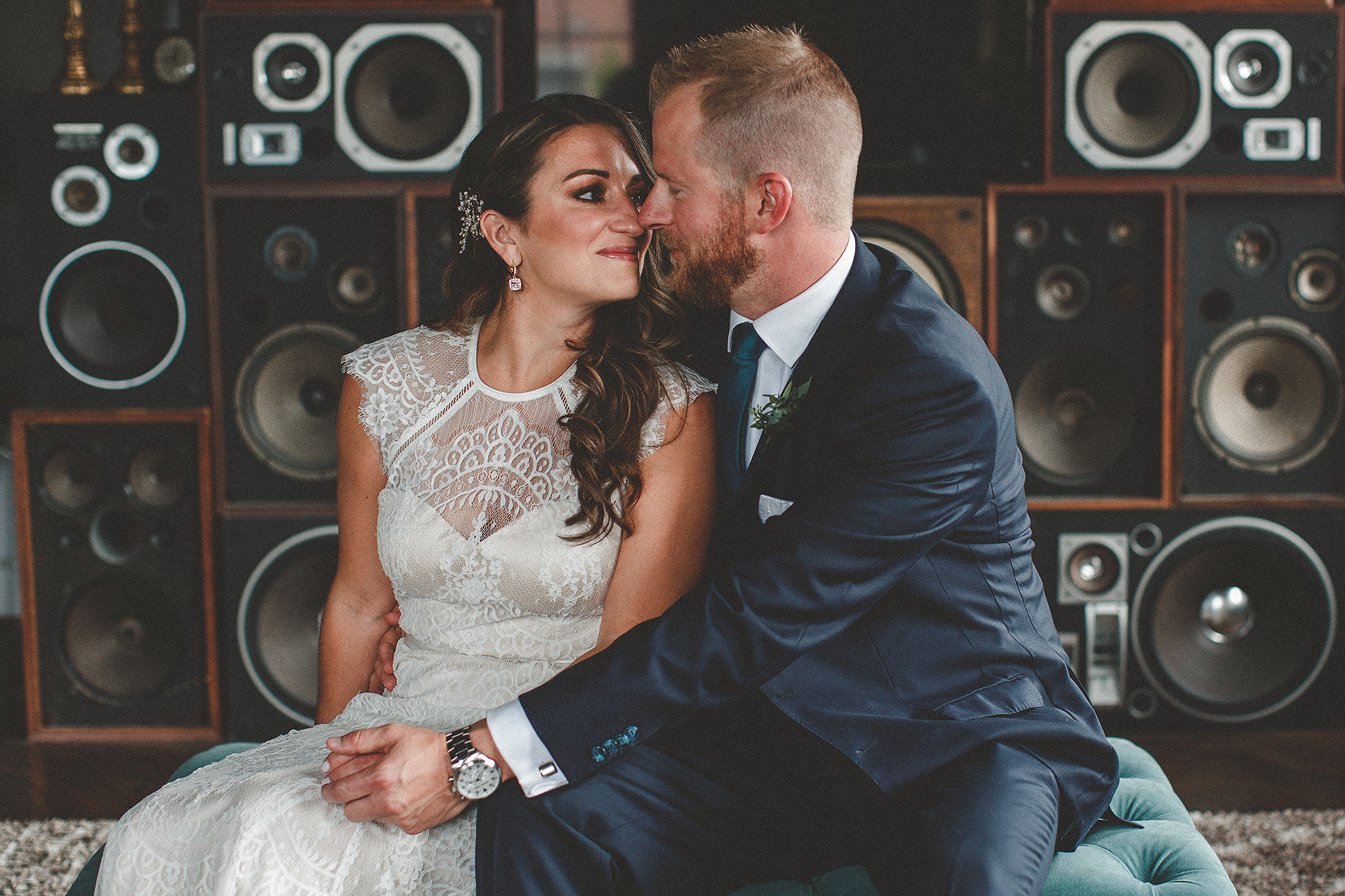 bride/groom portrait in front of vintage speakers | the ivy house milwaukee wedding photographer | chrissy deming