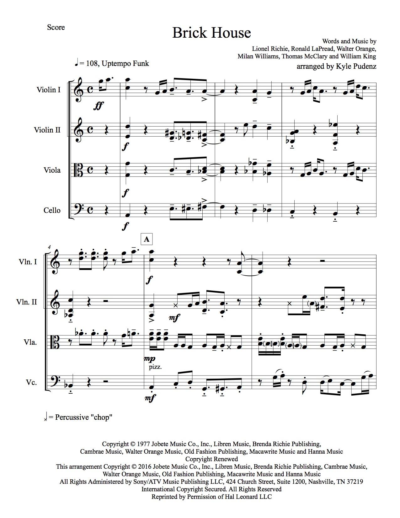 Commodores - Brick House for Jazz String Quartet — Kyle Pudenz