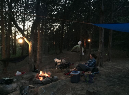 The next day we went to town, bought some firewood, snacks and whiskey. The magic of our little space wasn't lost on us. Lee snagged this picture of me and Georgia.