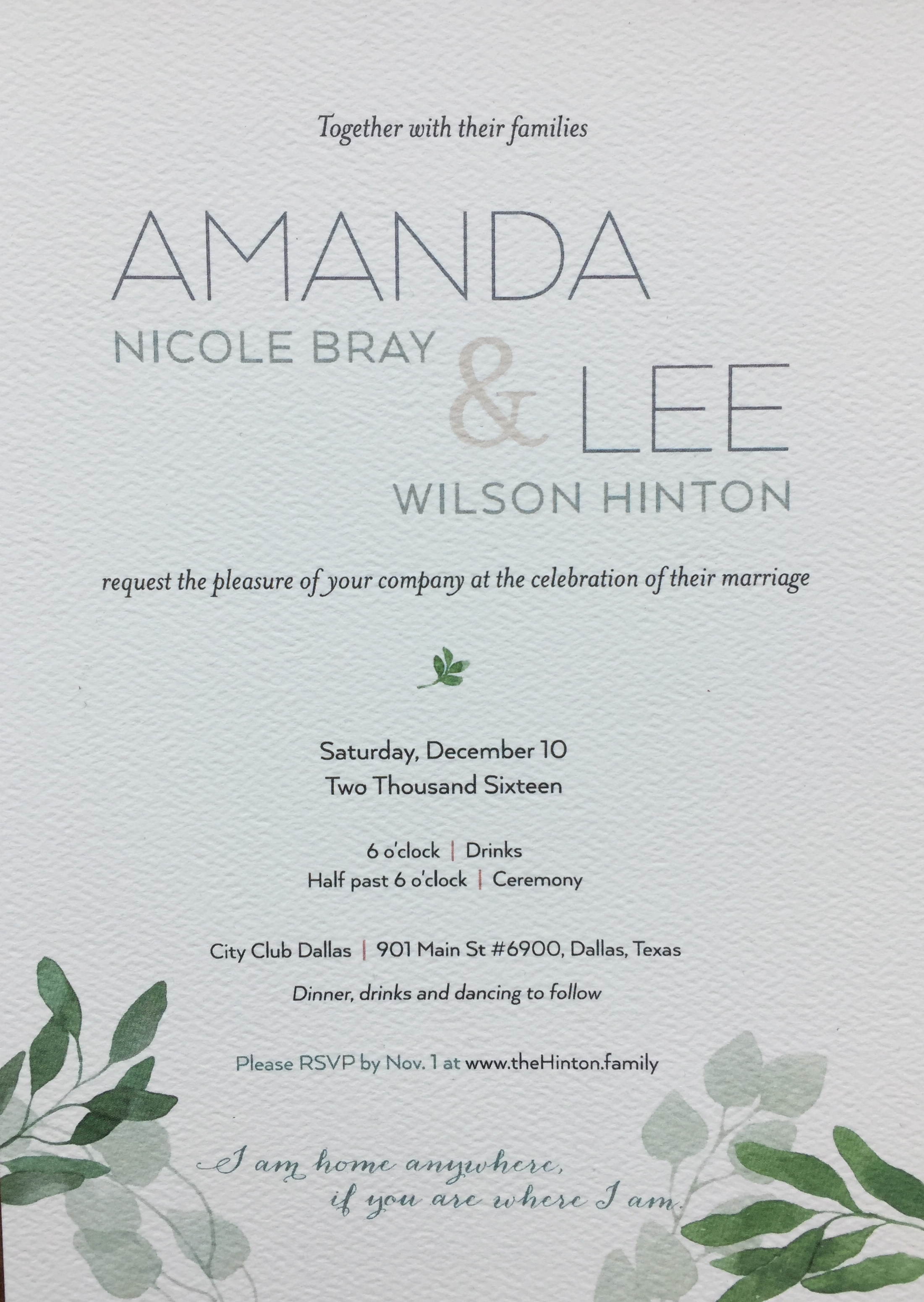 The invitation was simple, one-sided and didn't require extra shipping fees.