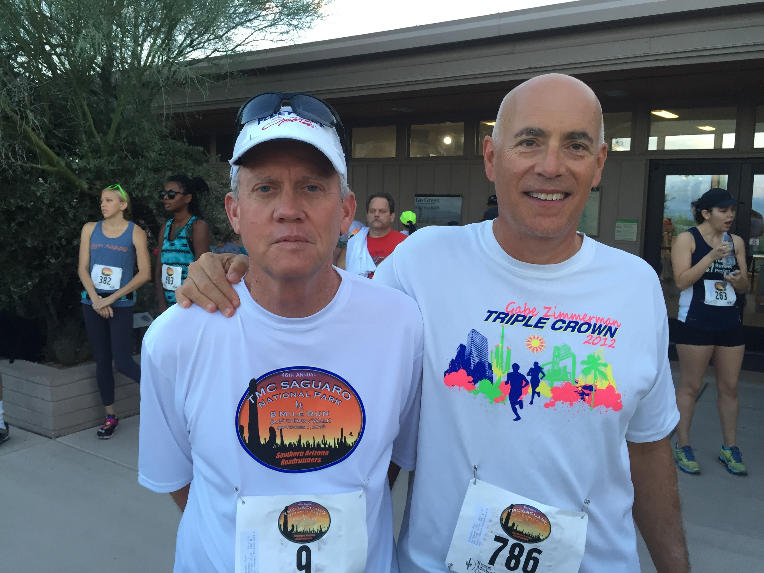 Board member Ross Zimmerman and CEO & President Eric Schindler before the Saguaro National Park Labor Day race