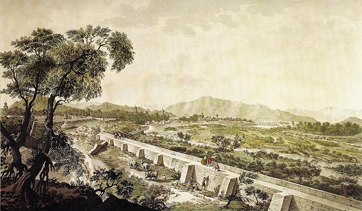 Fernando Brambila, Vista de la Ciudad de Santiago de Chile con parte del Tajamar del Río Mapocho desde la Quinta Alegre (1794) – © Museo Histórico Nacional de Chile