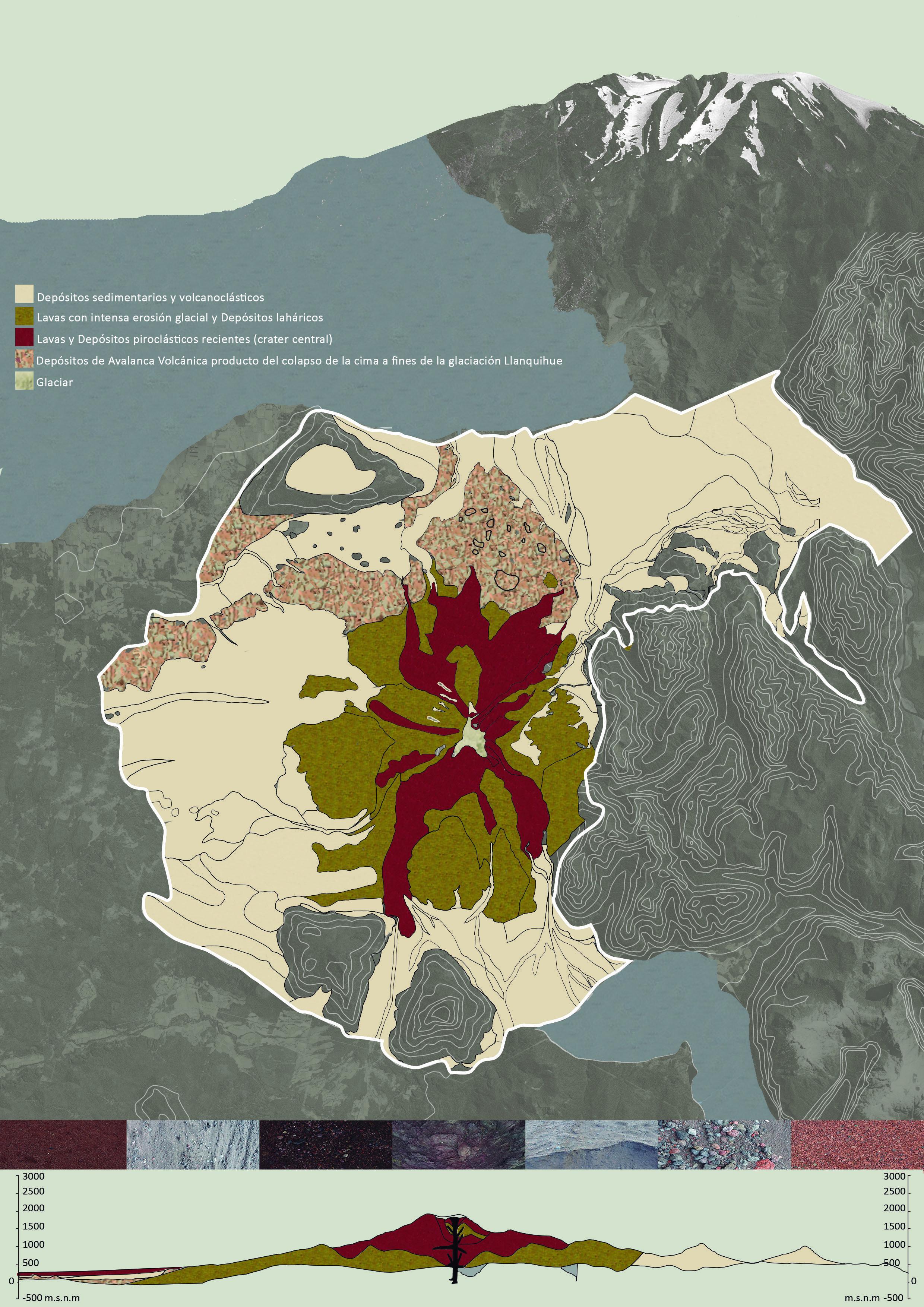 (3) Mapa geológico del volcán Calbuco © Alejandra, Vásquez D. para  LOFscapes.