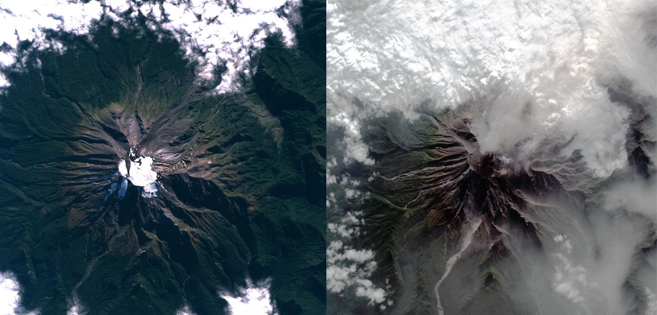 (1) Fuerza Área de Chile,  Antes y Después de la Erupción del Volcán Calbuco  (2015) – © Sitio web oficial FACH