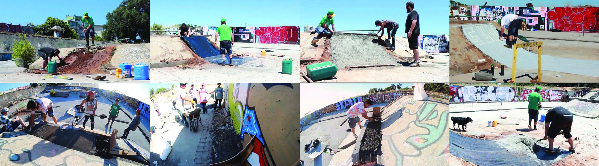 """(5) Compilación de  stills  de  skaters  andando el lugar extraídas del video """" ROSWELL """" disponible en < https://www.youtube.com/watch?v=2dG-H9Xyq5g > © Joaquín Cerda D. para  LOFscapes"""
