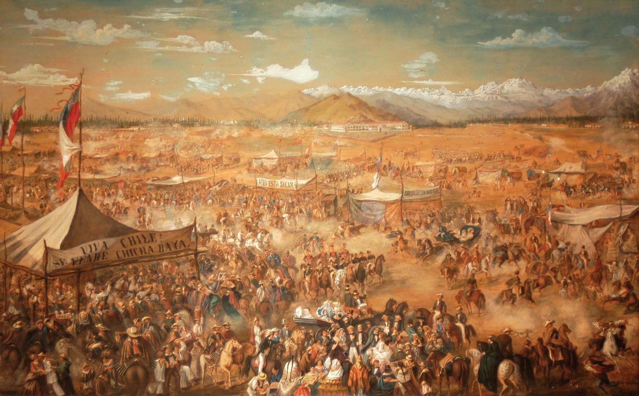Ernest Charton de Treville,  18 de Septiembre en Santiago  (1845)    © Colección Museo del Carmen de Maipú