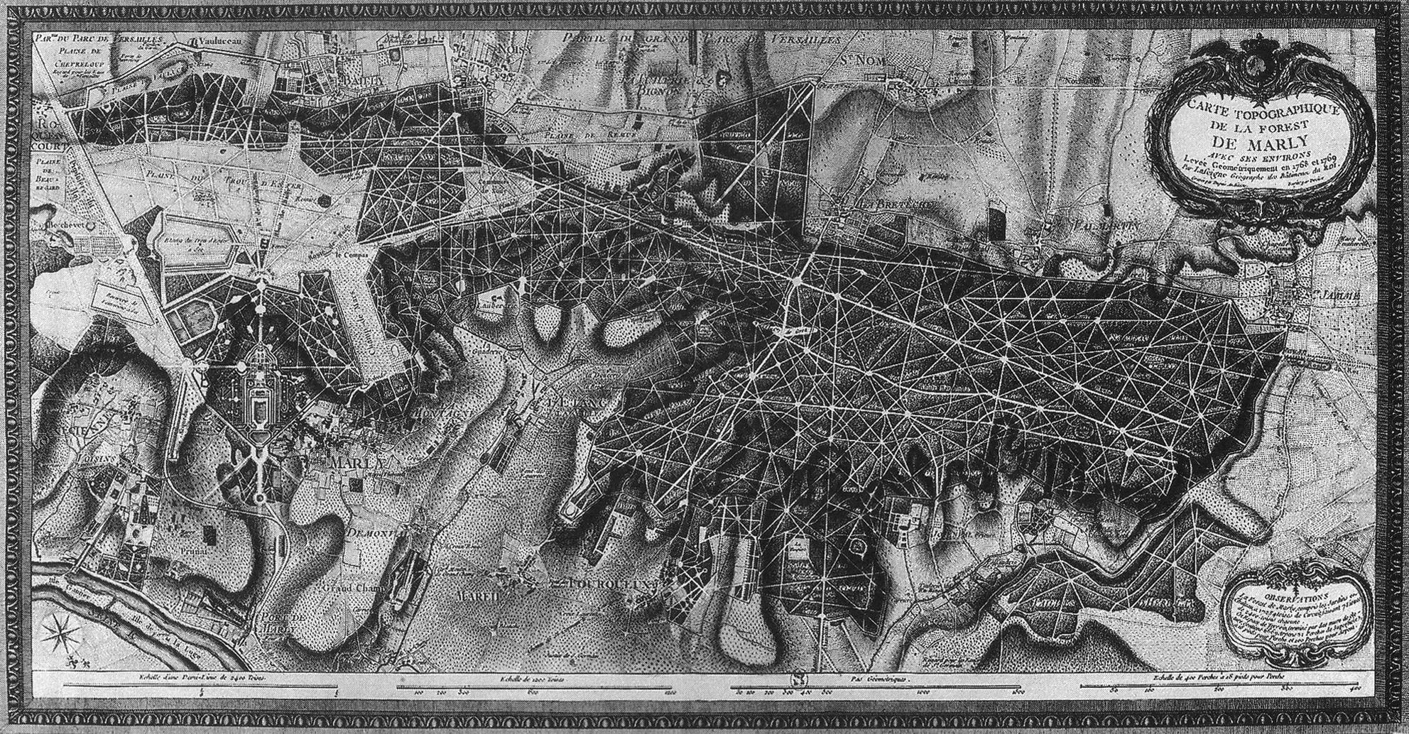 (1) Plan de Marly que muestra los caminos aparentemente excavados del bosque (1768-1769) ©   Monique Pelletier,  Cartographie de la France et du monde de la Renaissance au Siècle des lumières  (París: Bibliothèque nationale de France, 2001), p.55