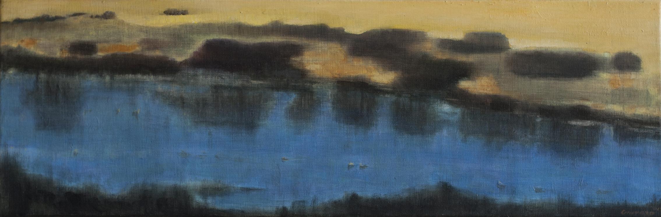 (4)  Humedal. Reflejos de orillas bajo un cielo incoloro   (2015), óleo sobre tela (20 x 60 cm) © Leonardo Cravero G.