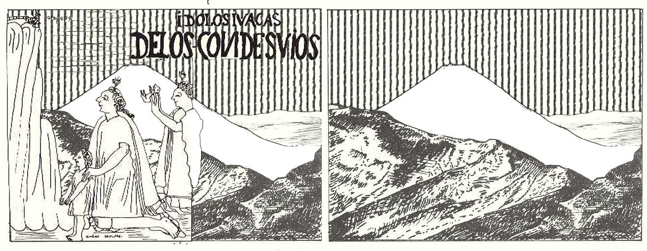 (5)   Visión andina de las montañas sagradas (izq.) versus visión 'objetiva'(der.)   © Andrés Riveros C. para  LOFscapes  a partir de ilustraciones de Reinhard (1983)