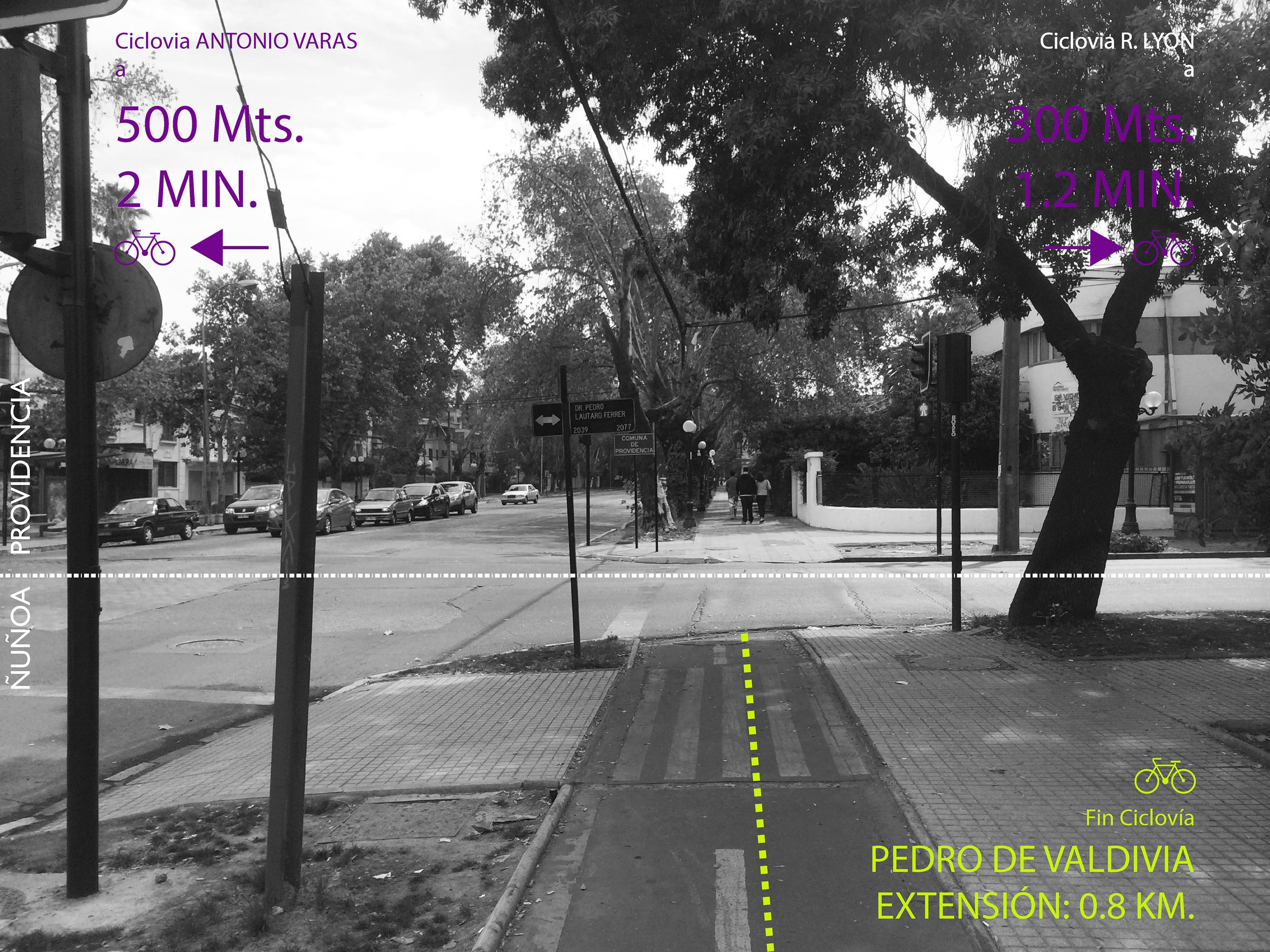 (3) Término Ciclovía Av. Pedro de Valdivia (dirección Norte), límite entre comunas de Providencia y Ñuñoa (2015) © Francisca Salas P. para   LOFscapes
