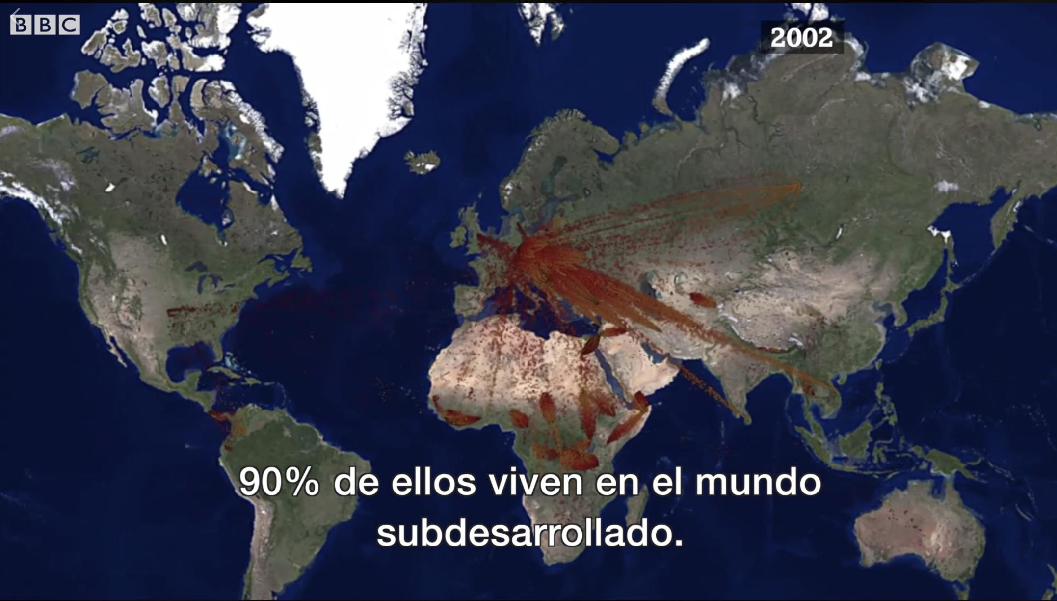 (2) Flujo de migraciones de refugiados en 2002, extracto de video (2018) ©Robert Muggah para BBC News