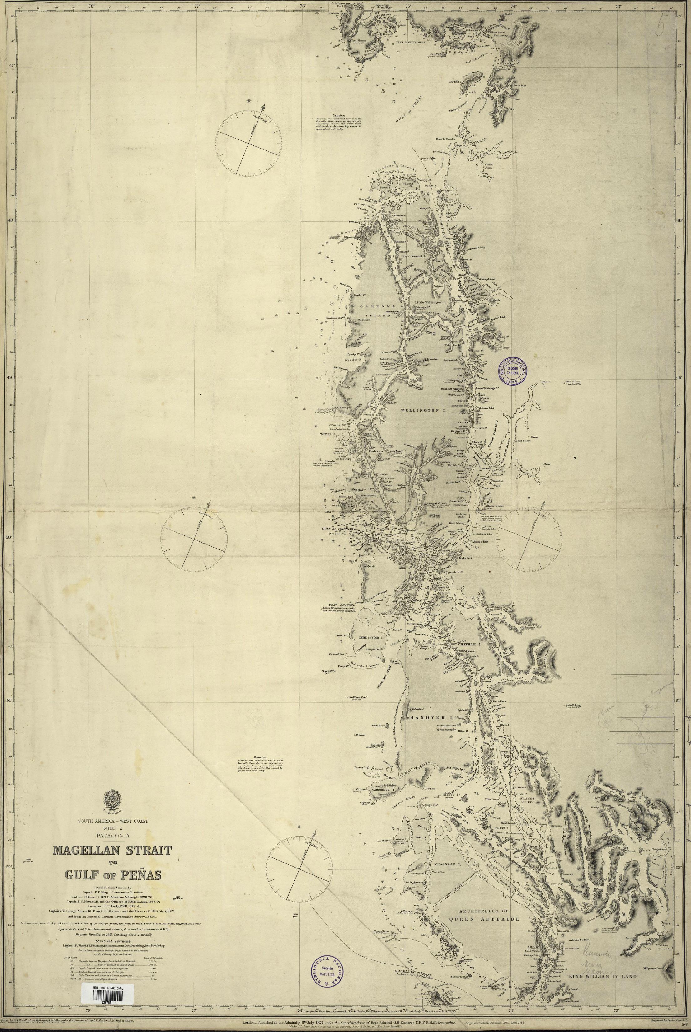 (4) A new chart of the east and west coast of South América, Comisiones Hidrográficas Marina Británica Parker King  © Archivo Cartas Náuticas,  Biblioteca.jpg