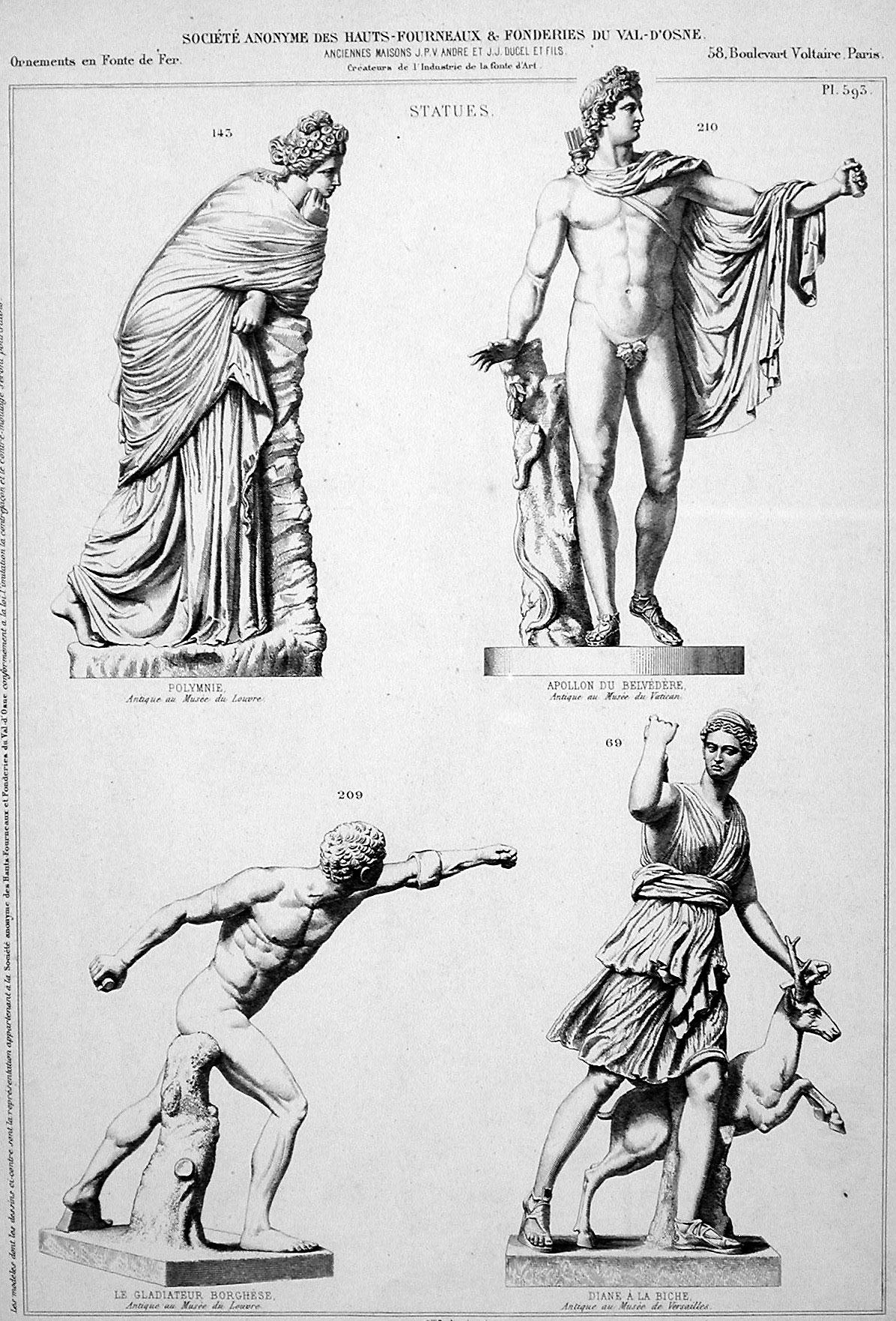 (1) Polymnie s egún publicación en catálogo de  Société Anonyme des hauts founeaux et fonderies du Val d'Osne 2 (1866), PL 593 · Nº143
