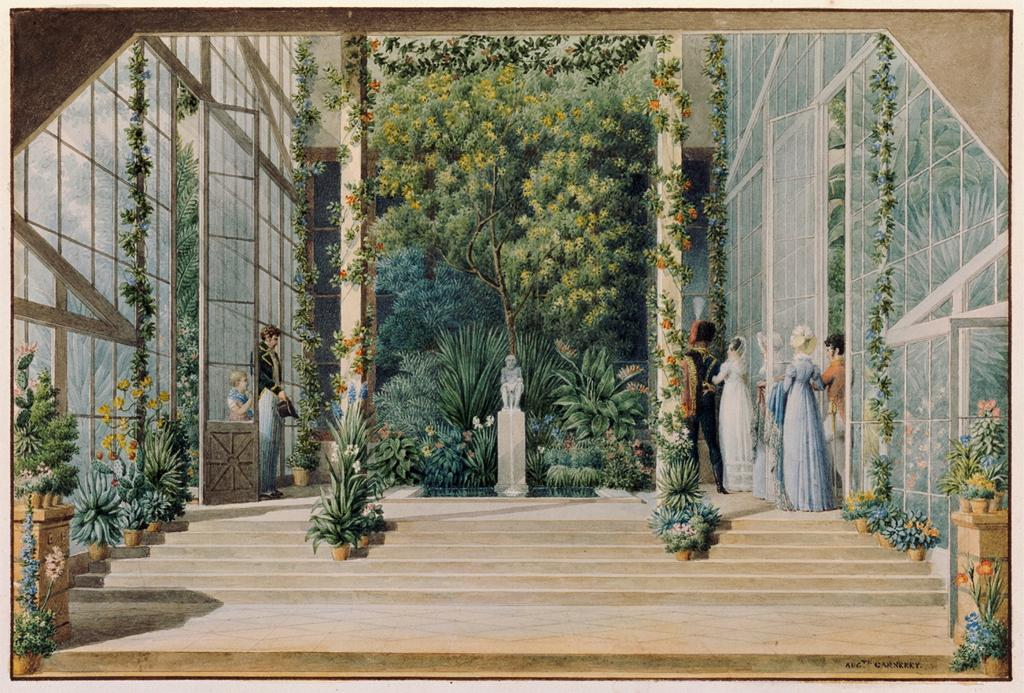 (2) Auguste Garneray, Interior of the Greenhouse of the Château de Malmaison, Douze vues du domaine de Malmaison