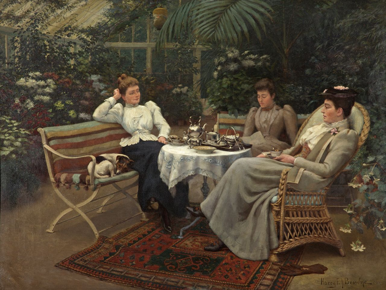 (1) Harry E. J. Browne, Tea in the Conservatory, ca. 1890 (photograph reproduced with the kind permission of the Russell-Cotes Art Gallery & Museum, Bournemouth)