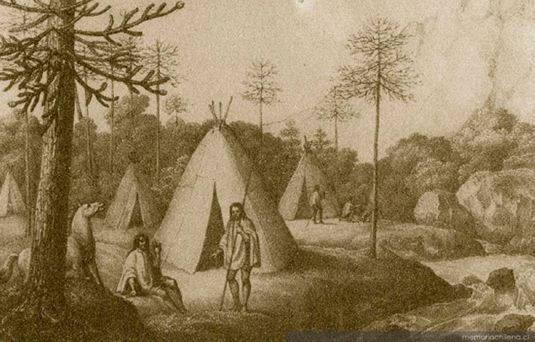 "(1)Eduard Pöppig, ""Campamento Pehuenche hacia 1840""©  Memoria Chilena"