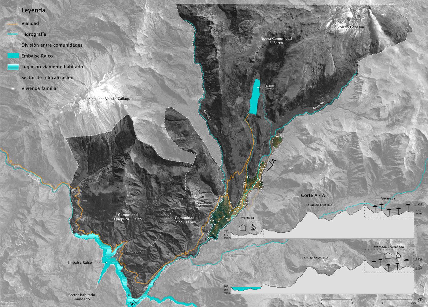 (4) Mapa de relocalización desde el sector de la represa hacia la creación de la nueva comunidad en la frontera con argentina © Amira Shalaby