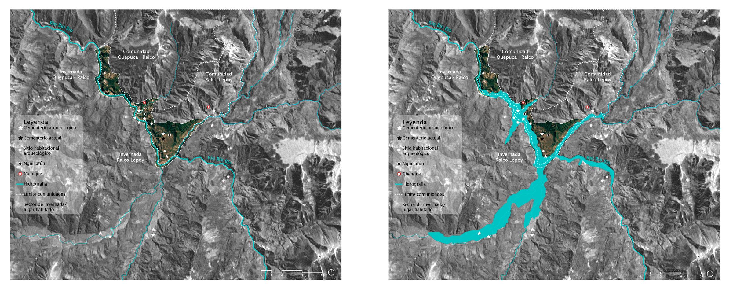 (3) Mapa de inundación de la comunidad Ralco Lepoy por la creación de la represa hidroeléctrica Ralco (2004) © Amira Shalaby