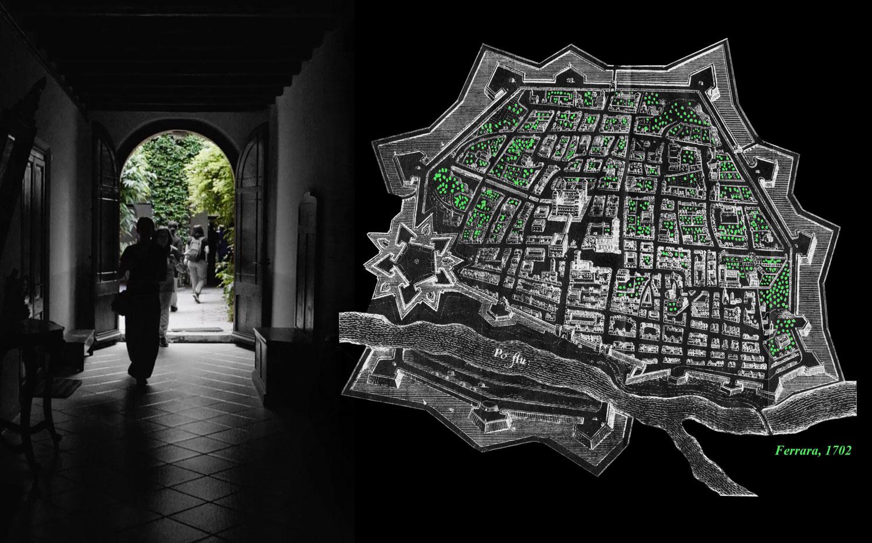 (1) Interiores verdes de Ferrara 1703. © Constanza Bianchini T. para LOFscapes. Elaborado en base a–©lapuntaseccastampeantiche.com