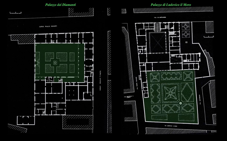 (3) Palazzo dei Diamanti y Palazzo di Ludovico il Moro, Ferrara. © Constanza Bianchini T. para LOFscapes. Elaborado en base a–C. Bassi.  Ferrara rara. Pág. 138, 89.