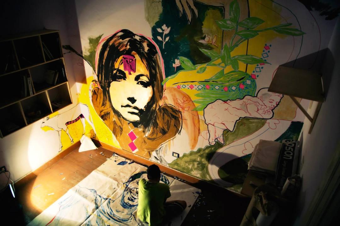 Ammar Abo Bakr . Inside Ammar's studio.  (Photo credit:   Abdel Rahman Zin Eldin  )