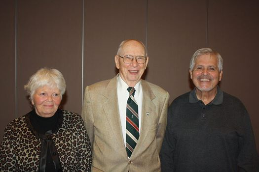 Years of Service Awards were presented to CASA volunteers Wini Rogers, Glenn Cox and Phil Tripi on Thursday night. Photo courtesy of Northeastern Indiana CASA.