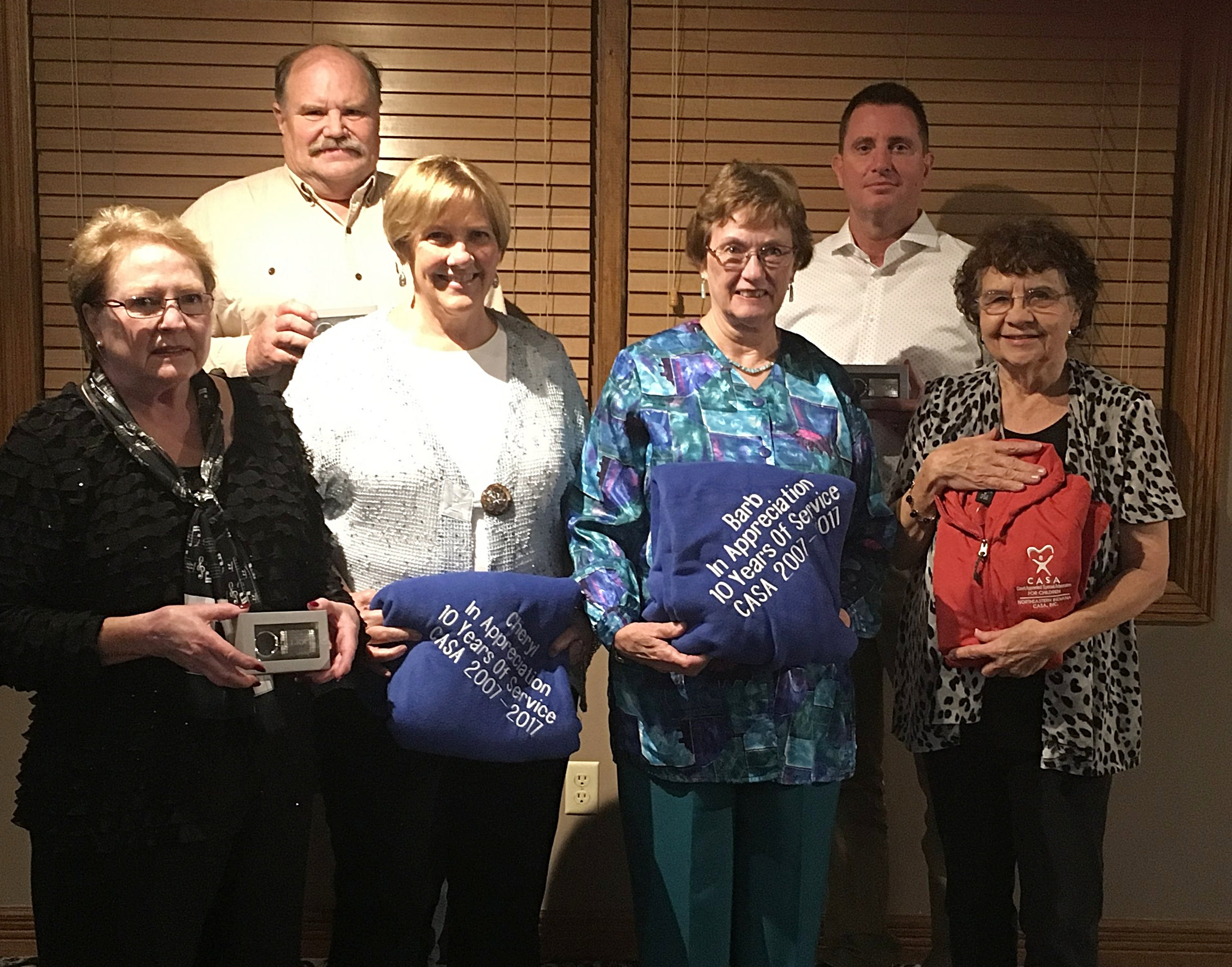 Awards were given to (from left to right) Lee Marki and Rick Owens for five years of service, Cheryl Weaver and Barb Bauer for 10 years of service, and Elizabeth Gilbert for 15 years of service. In addition, board members Troy Weimer and Scott Newman (not pictured) were recognized for five years of service.