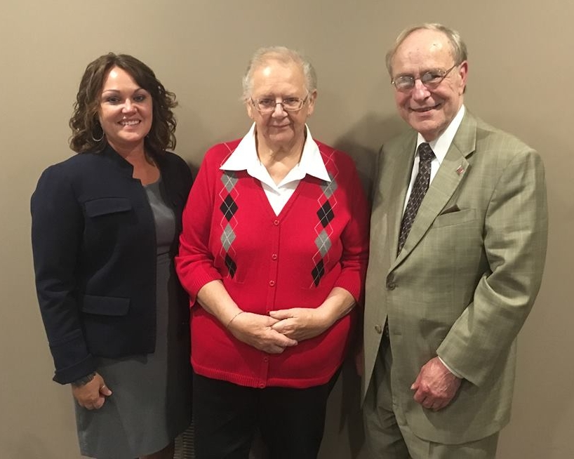 Bonnie Schoppman, pictured center, has served Northeastern Indiana CASA as a volunteer for 25 years. She is pictured with Executive Director Kristi Bachman (left) and Steuben County Circuit Court Judge Allen Wheat.