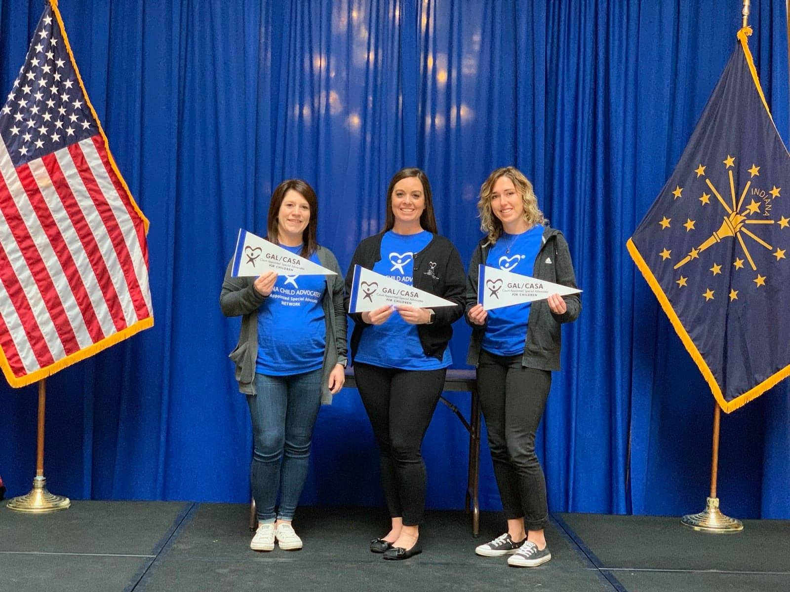 CASA staff members and volunteers attended CASA Day at the State House, an annual event aimed at bringing together volunteers for the nonprofit and state legislators. Pictured are Northeastern Indiana CASA staff members, Brooke, Kirby and Abby.