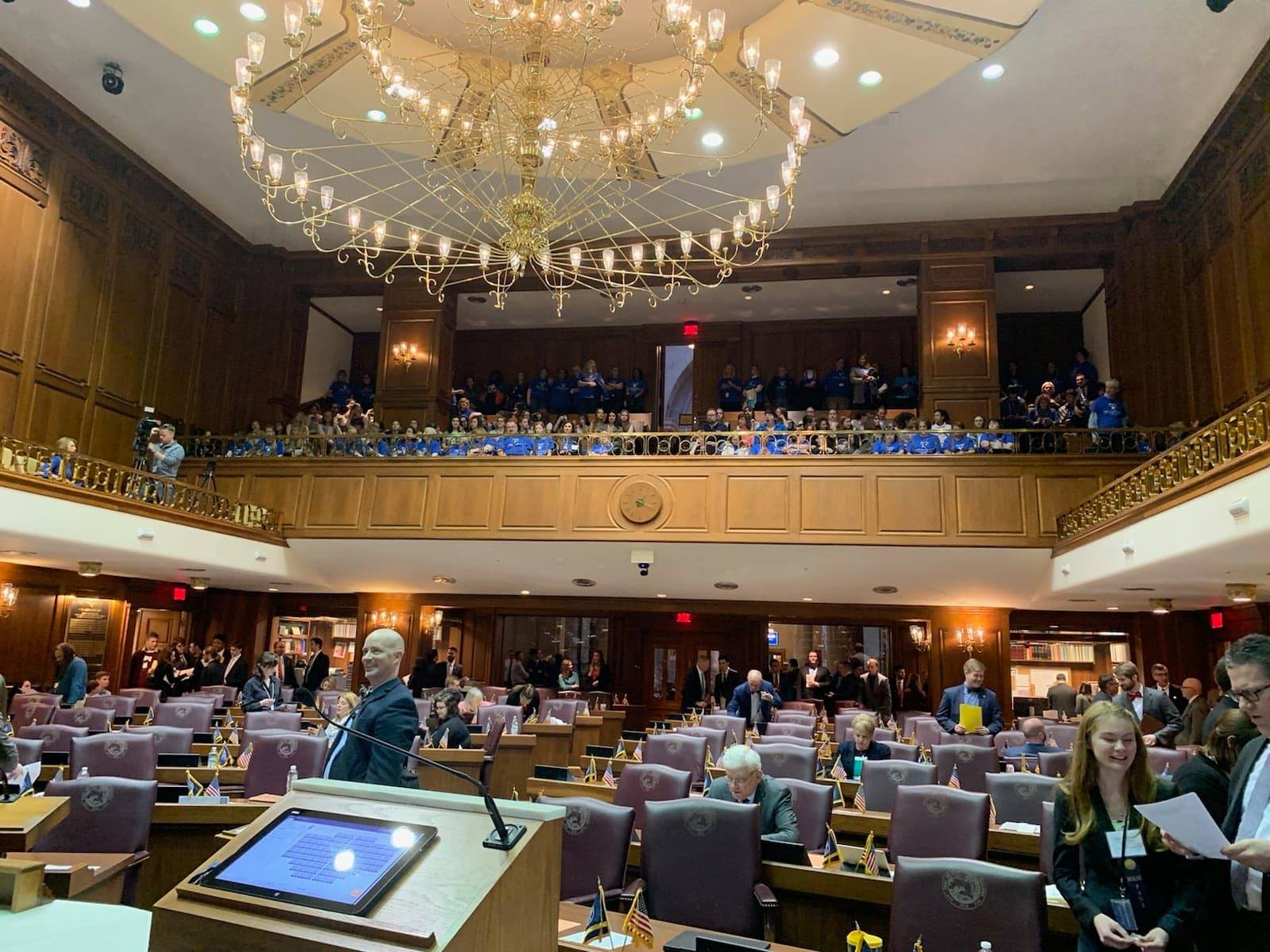 CASA Volunteers filled the top balcony of the Indiana House of Representatives.