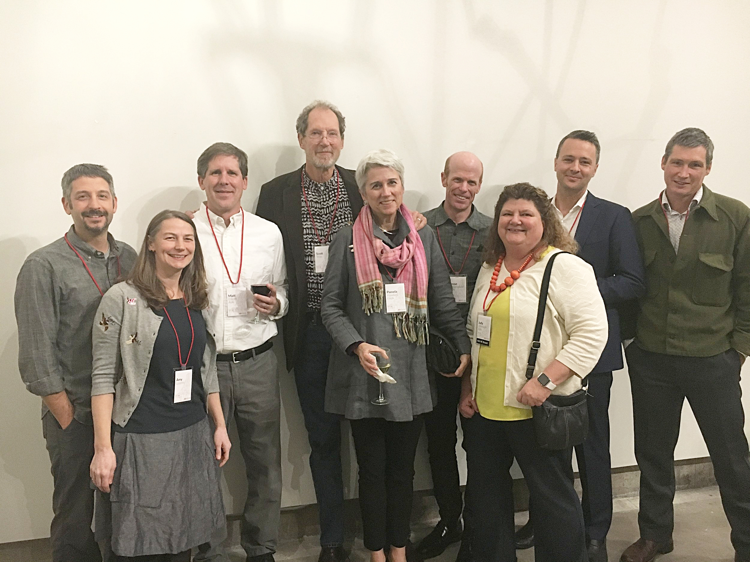 Maine Architects celebrate at the 2017 AIA New England Award program.  From left to right: JT Loomis, Amy Loomis, Matt Elliott, T. Scott Teas, Pamela Hawkes, Jesse Thompson, Judy Johnson, Matthew O'Malia, and Riley Pratt.