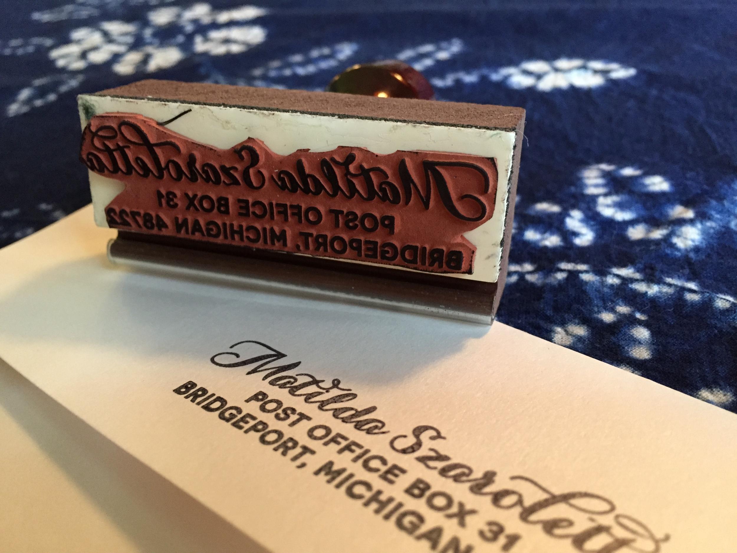 Script Return Address Rubber Stamp