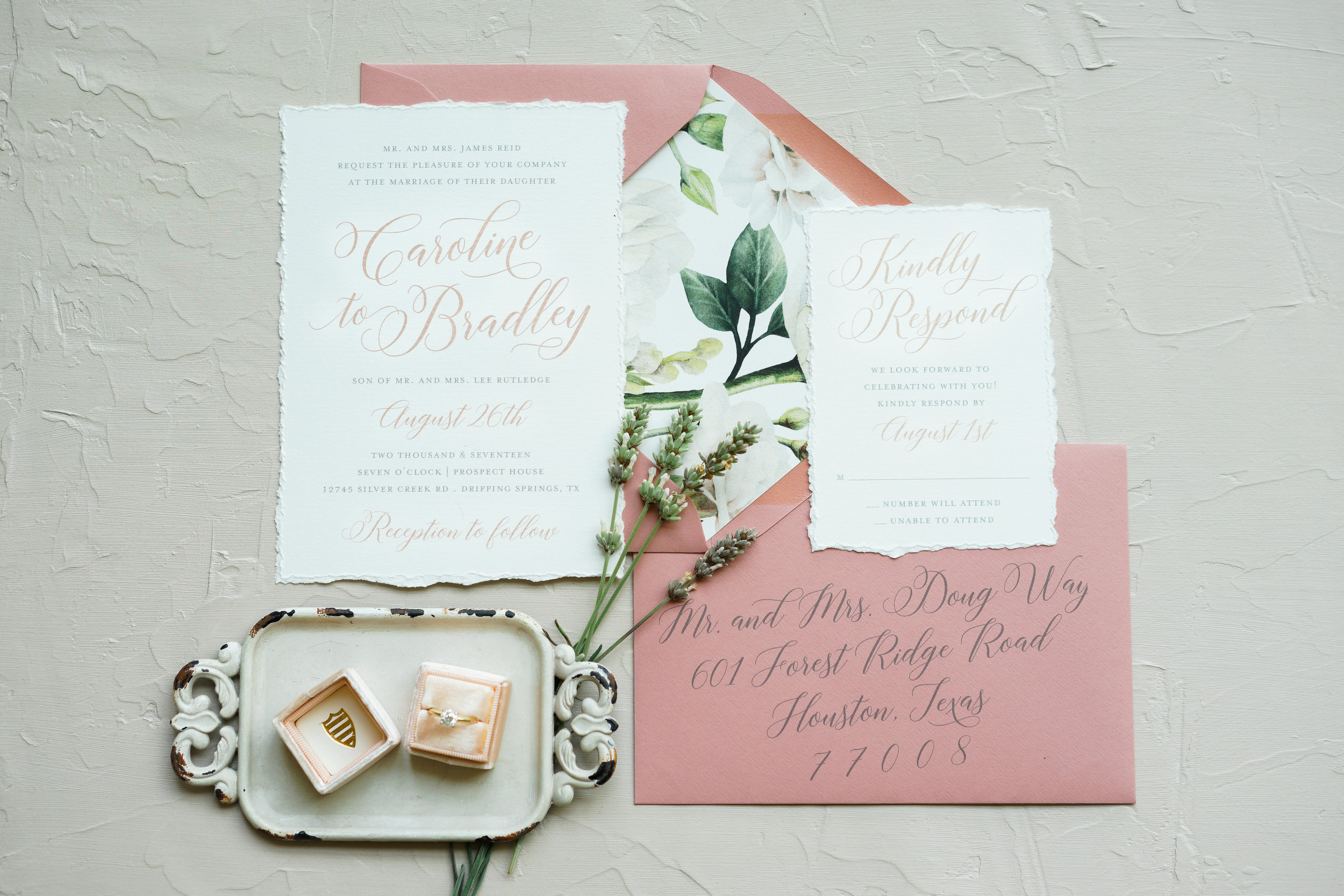 The Prospect House in Dripping Springs. Fine Art Austin Wedding Photographer. Beautiful invitations by Peached Paper Design.