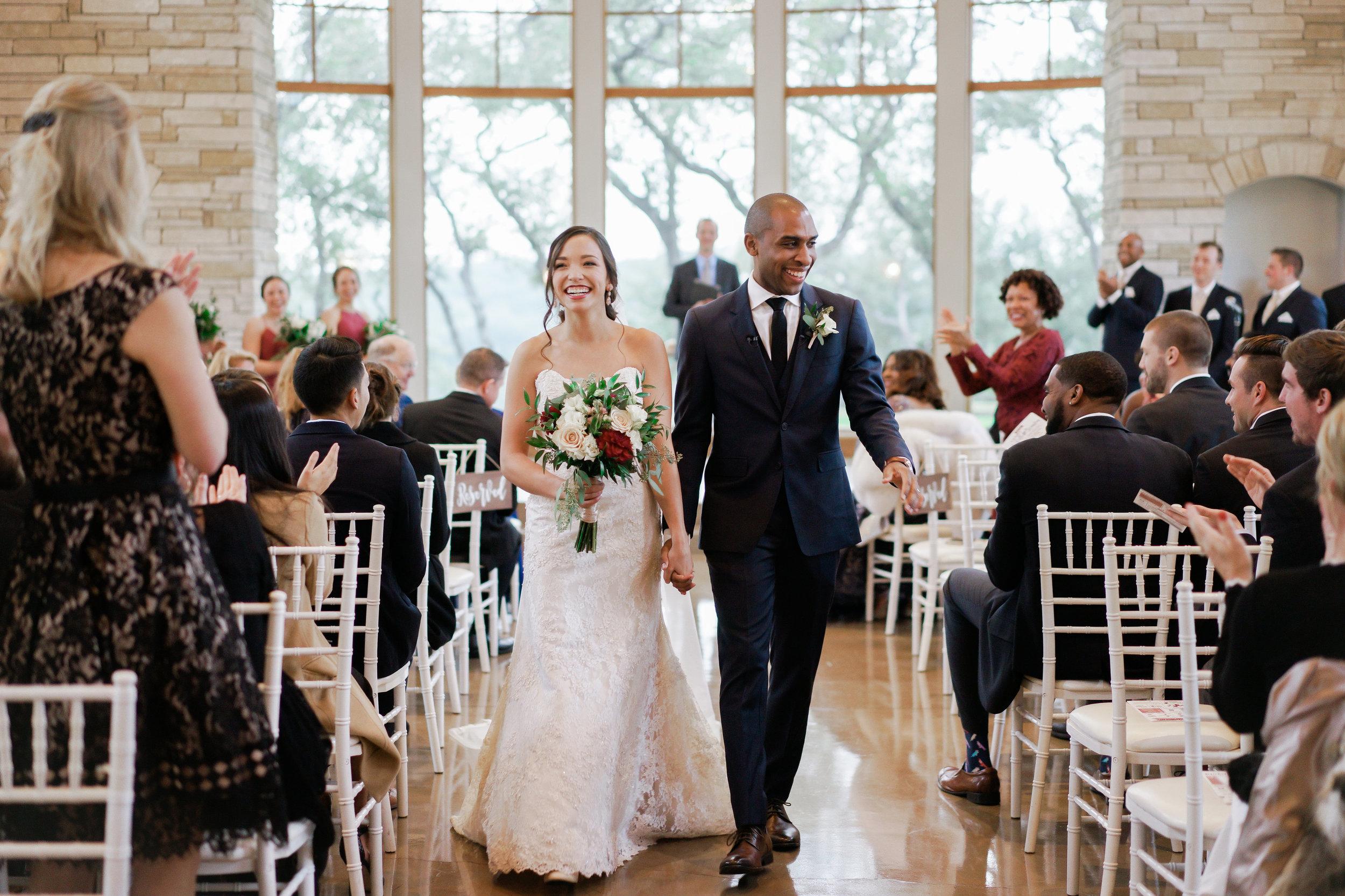 joyful moments from a beautiful austin wedding ceremony at Canyonwood Ridge